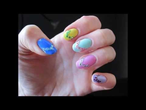 Colorful Flip Flops Nail Art - YouTube