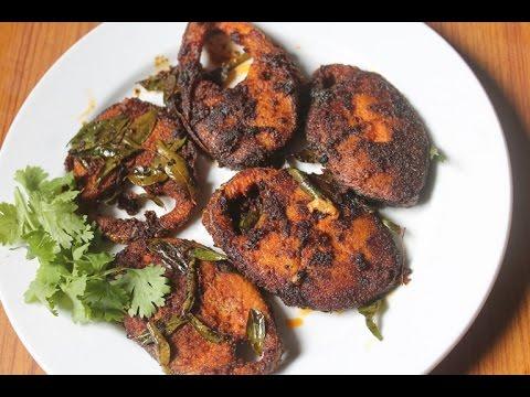 Seer Fish Fry Recipe - Fried King Fish Recipe - Vanjaram Meen Varuval Recipe