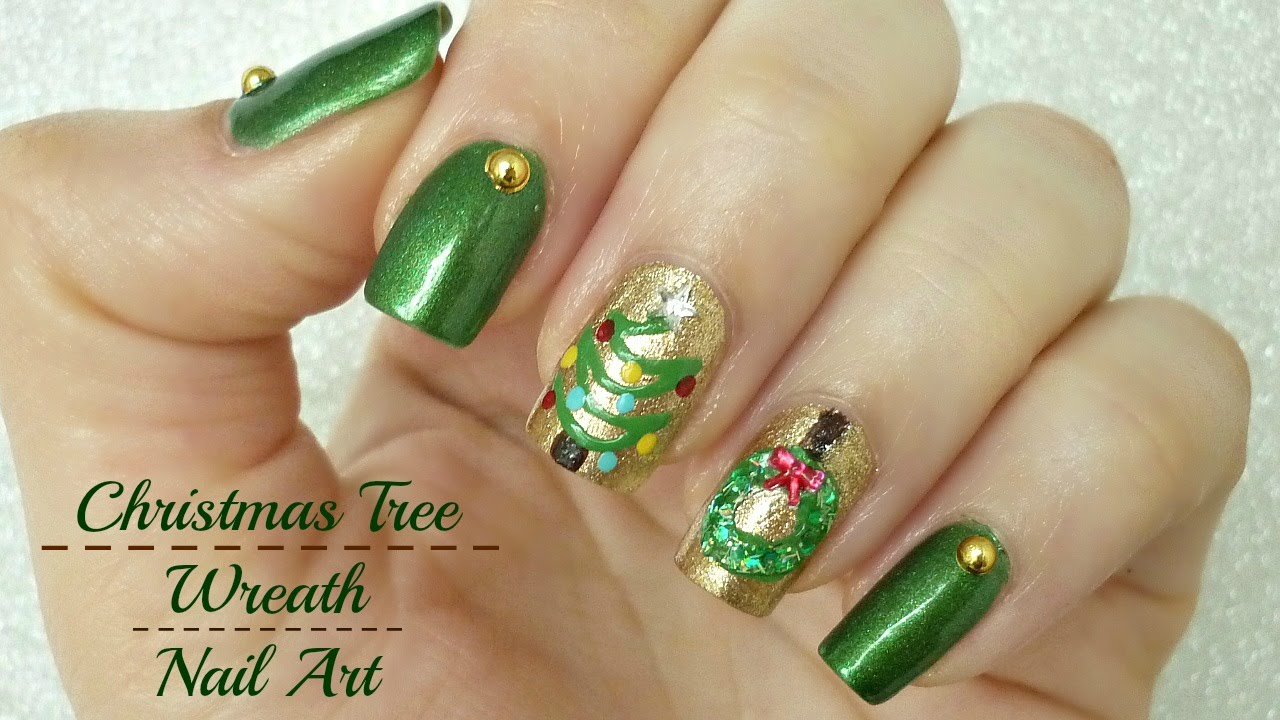 Festive christmas tree and wreath nail art youtube festive christmas tree and wreath nail art prinsesfo Image collections