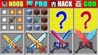 Minecraft NOOB vs PRO vs HACKER vs GOD OP! FIRE ICE SWORD CRAFTING CHALLENGE in Minecraft Animation