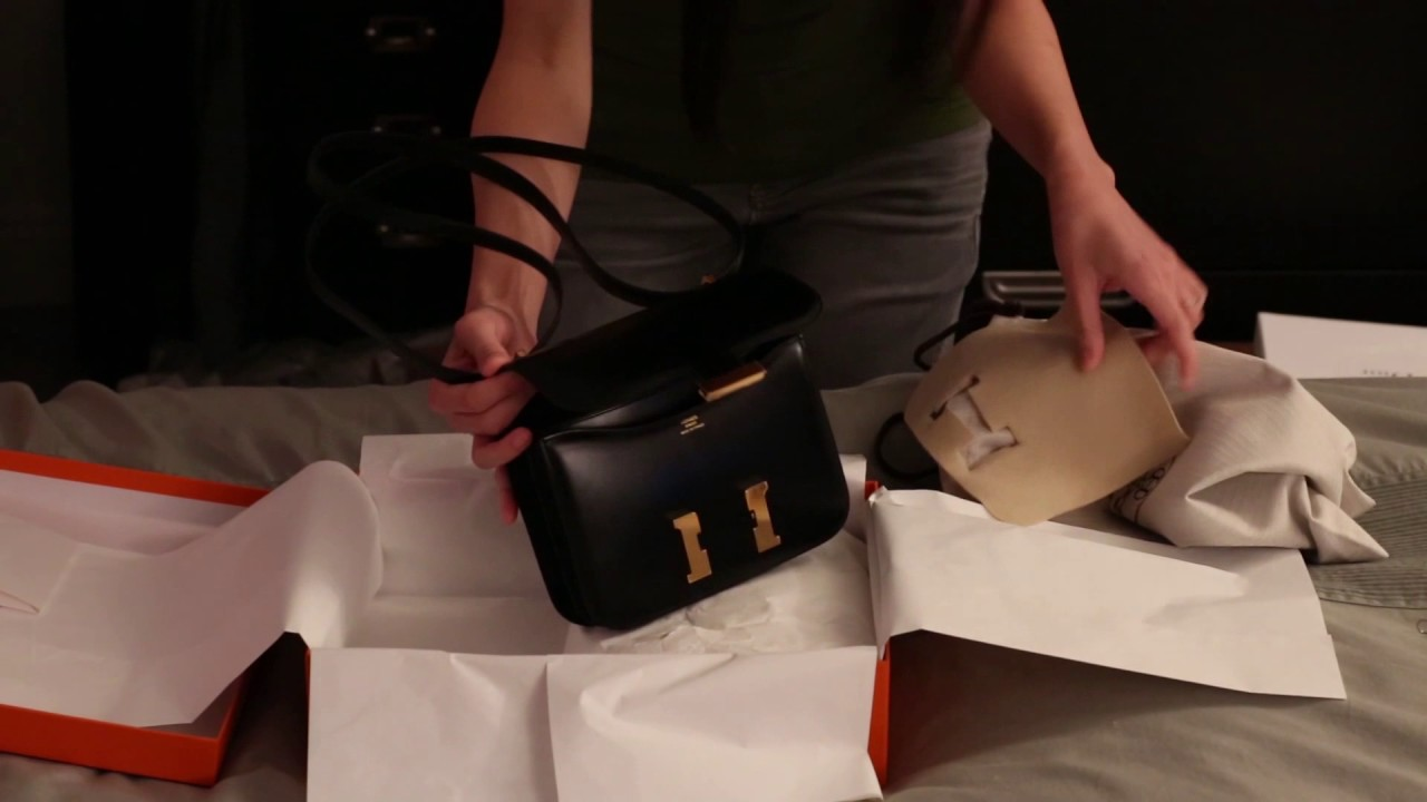 aefa3bf70f87 Hermes Constance 18 - Unboxing and Comparison with Chanel Square Mini!