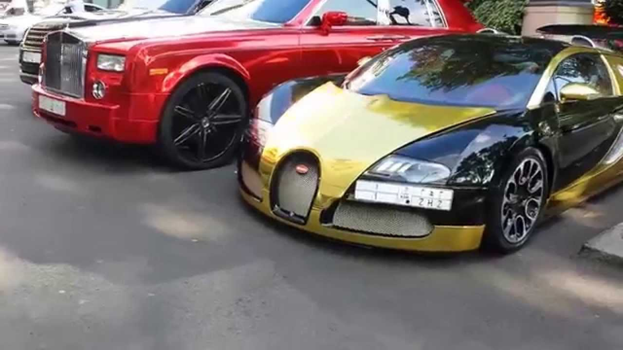 Epic Black and Gold Bugatti Veyron + Chrome Phantom ... Bugatti 2014 Chrome