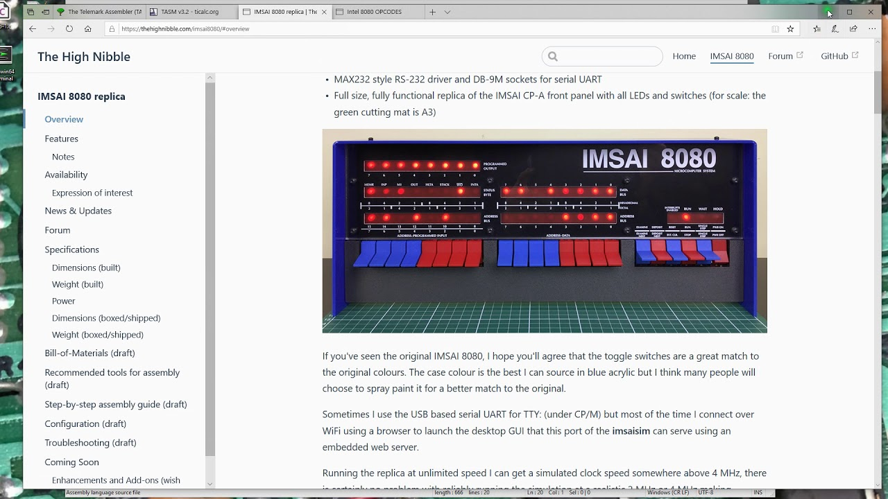 IMSAI 8080 Replica - Part 15 - Assembling small programs to enter on the  Front Panel - STB333