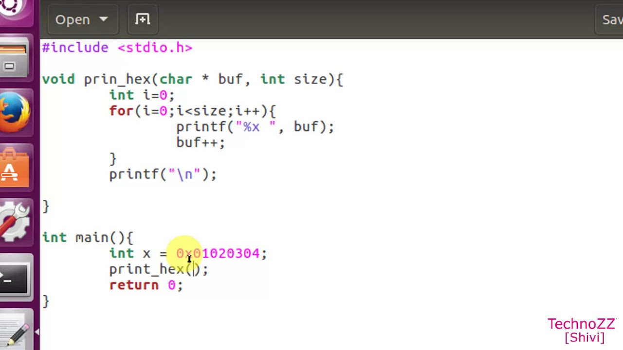 How to print int / buffers / structure in Hex in C