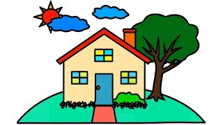 House Tree Sun Drawing Coloring for Kids How to Draw Step by Step Natural Environment Easily Color