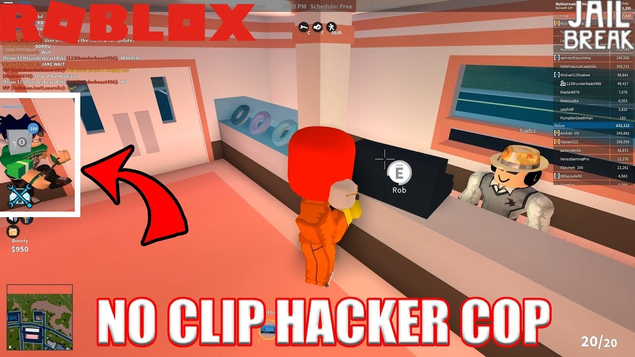 Noclip Hacking Cops Roblox Jailbreak Youtube