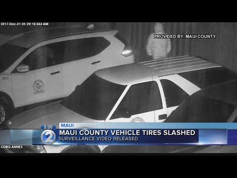 Man caught on surveillance video slashing tires on Maui County vehicles