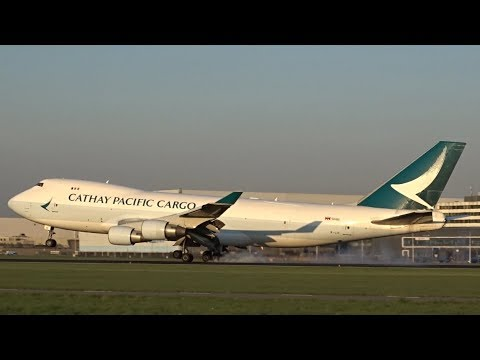 Cathay Pacific Cargo (New Livery) Boeing 747-400 F - Lands at AMS