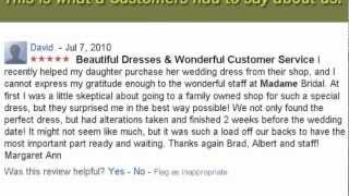 Madame Bridal  Customer Testimonial - Parents Grateful for Help with Daughter's Wedding Dress