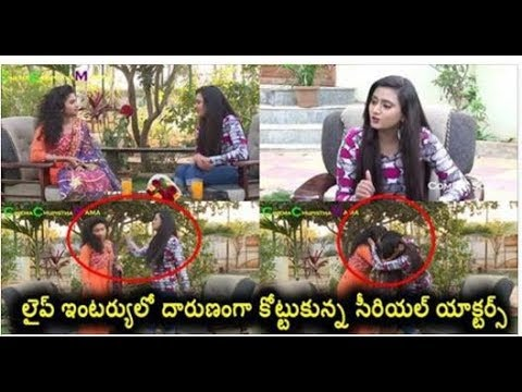 Tv Serial Actors Real Fight In Live Interview & Even Cameraman Shocks