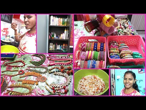 #DIML May 2 Wednesday  2018 Routine Vlog/Dressing table Organization/My Silk thread Bangles/Necklace
