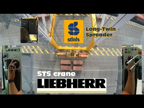 How to operate STS Gantry Crane on Barges Twin-Mode! Joystick-CAM Stinis Long-Twin spreader. GoPro