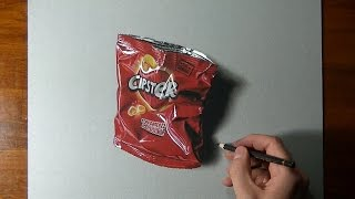 How to draw an empty potato chips bag