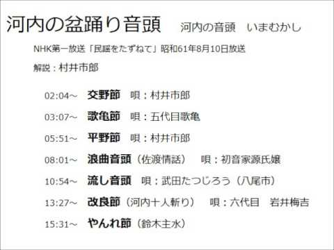 河内音頭(解説:村井市郎)  昭和61.8.10放送