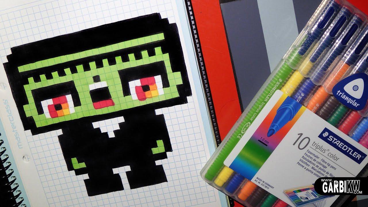 Handmade Pixel Art How To Draw A Kawaii Frankenstein By Garbi Kw Halloween Pixelart