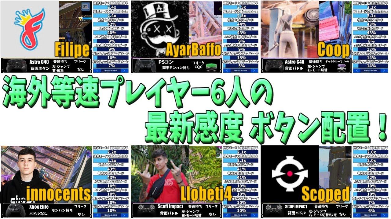 【日本語設定】海外等速プレイヤー6人の最新感度 コントローラー ボタン配置 パドル設定!【フォートナイト】