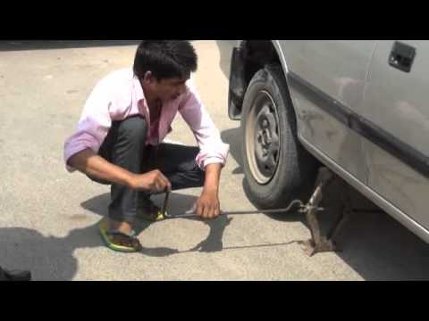 Replacement Of Tyre Using Car Jack Youtube