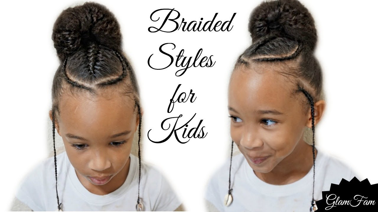 Children S Braided Hairstyle With A Bun Back To School Hairstyles