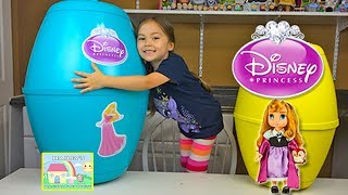Huge Disney Princess Playdoh Kinder Surprise Eggs Princess Aurora Baby Doll Toys - Plastilina