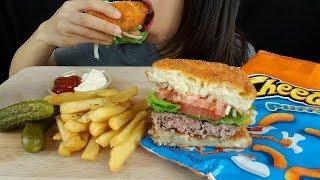 ASMR Mac N' Cheetos Burger 🍔 Mukbang *No Talking Eating Sounds