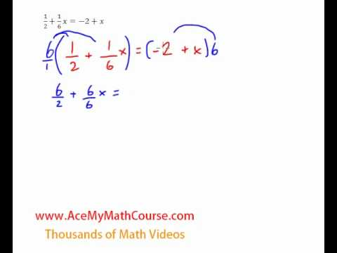 Equations Variables On Both Sides With Fractions Quick