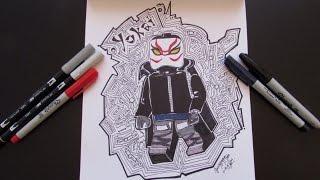How to draw Big Hero 6 - Yokai - Lego Speed Draw #7