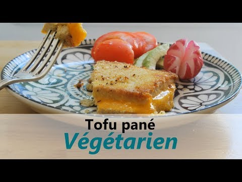 RECETTE végétarienne, facile & rapide / 242 Kcal - Tofu pané à l'anglaise & au cheddar