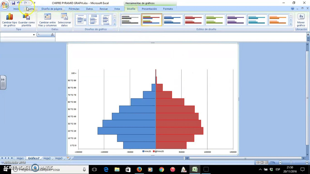 how to create a pyramid graph with excel