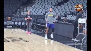 Stephen Curry rehabbing his knee in San Antonio ahead of Game 3 vs the Spurs