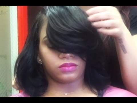 Quick Weave With Deep Bangs Youtube