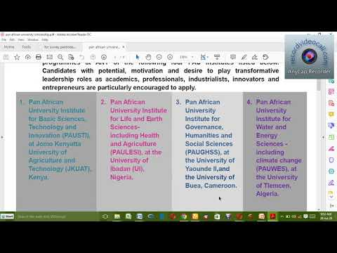 Pan African University  scholarship application procedure