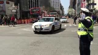 NYPD SURGE DRILL PATROLLING ON WEST 34TH STREET IN THE MIDTOWN AREA OF MANHATTAN IN NEW YORK CITY.