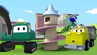 Equipo Constructor: Camión Volquete, la Grúa y la Excavadora una Torre Princesa en Autocity