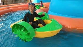 Mainan Hutan Air, Istana Balon Kolam Renang, Asiknya Qyla&Fais Bermain Di WaterSlide WaterPark Gofun