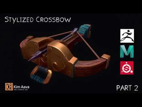 Stylized Prop: Crossbow Timelaps/Speedmodel - Zbrush | Maya | Substance - Part 2