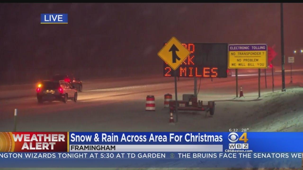 Snow & Rain Across Boston For Christmas - YouTube