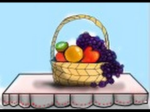 step by srep how to draw a fruit basket