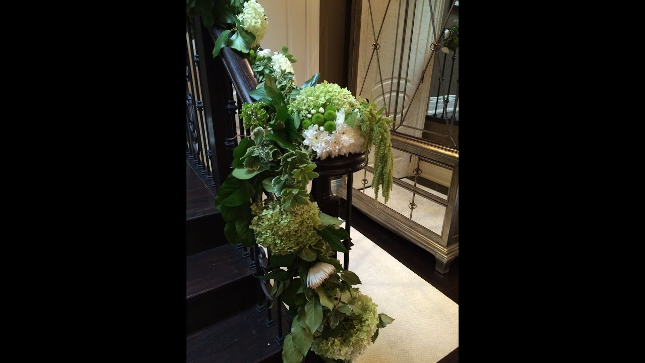 How To Decorate A Staircase For A Wedding With Fresh Flowers, With Vibrant  Creations   YouTube