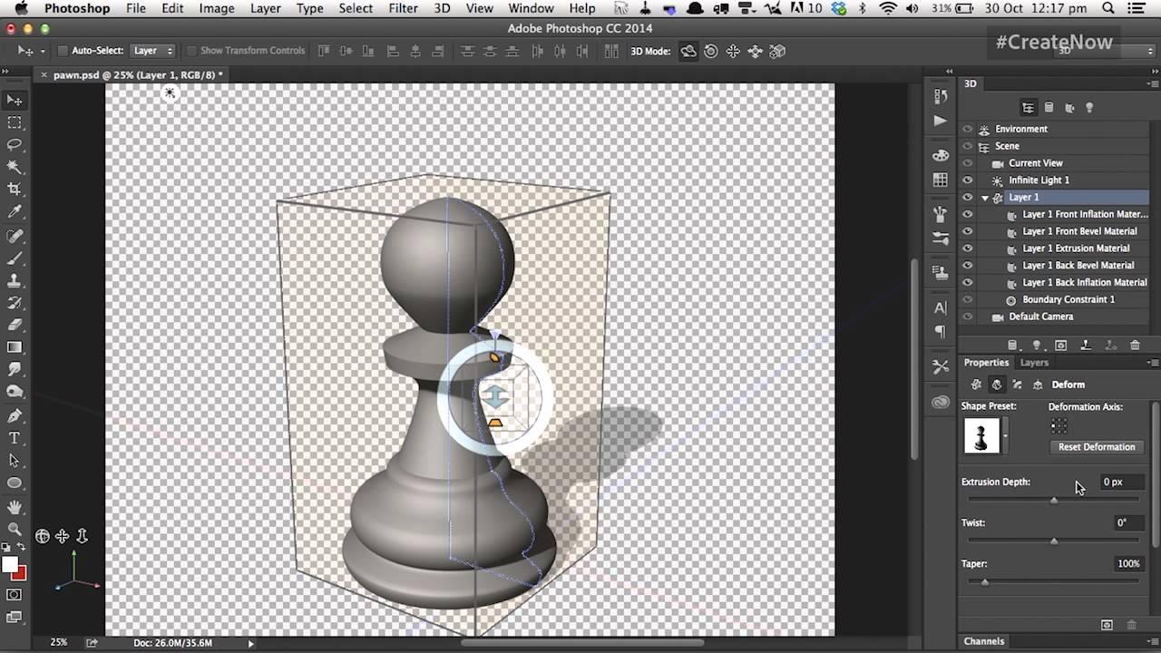 Photoshop cc 3d capabilities with steve caplin create for Make 3d online