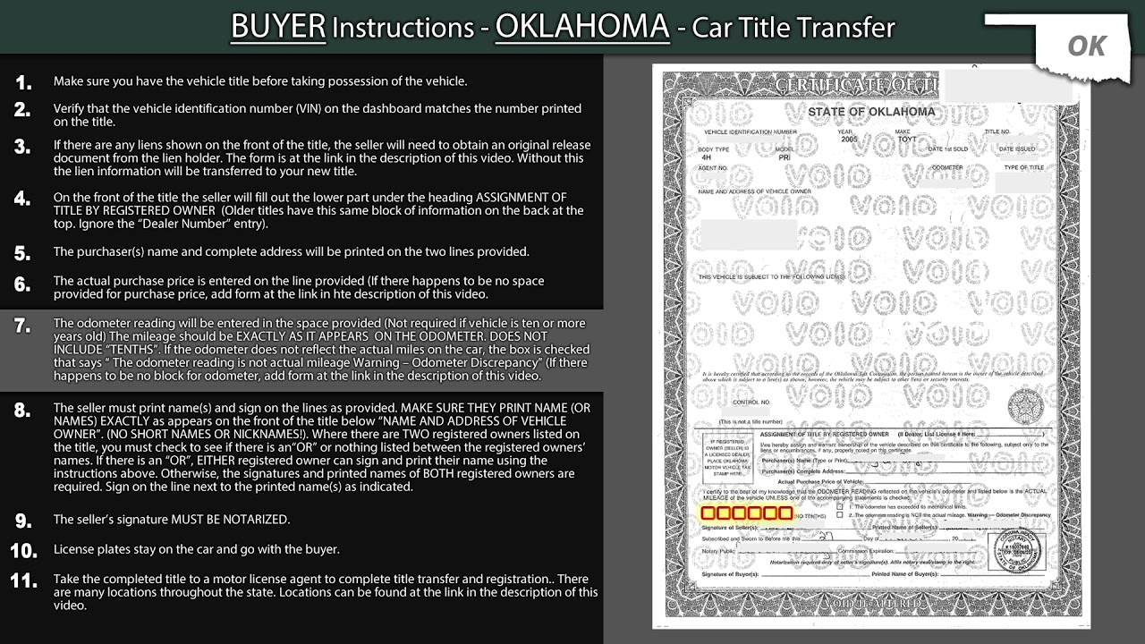 Oklahoma Title Transfer Buyer Instructions Youtube