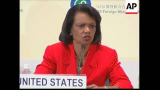 Rice, G8 FMs welcome North Korean nuclear declaration, advise caution