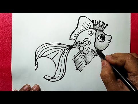 How To Draw A Beautiful Fish || Easy Line Drawing Of A Fish || YZArts