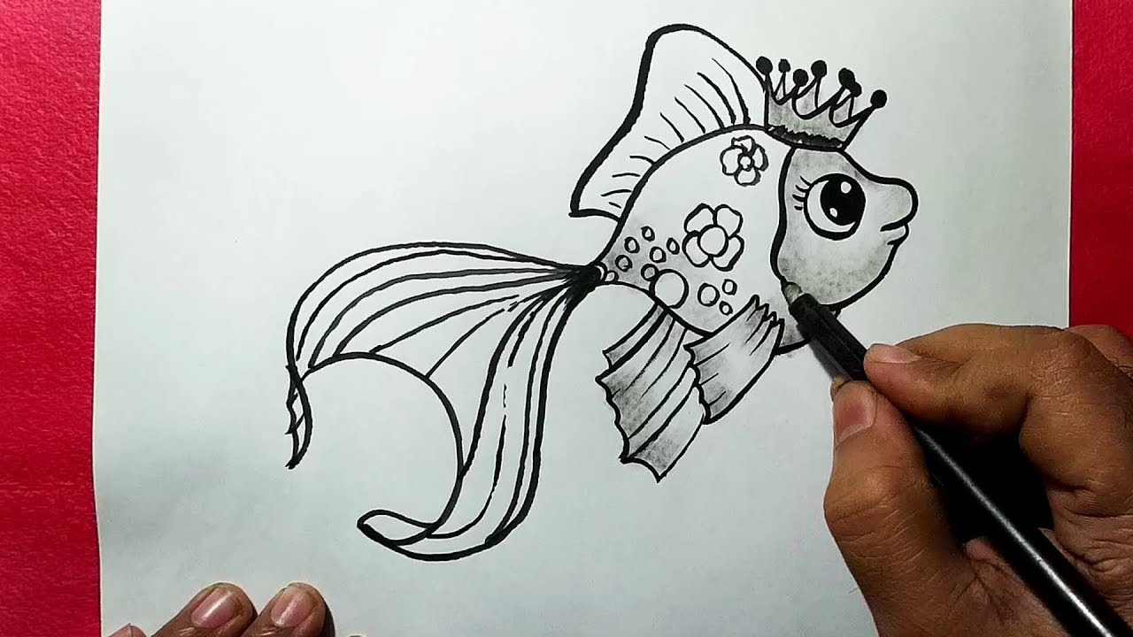 How to draw a beautiful fish easy line drawing of a fish yzarts