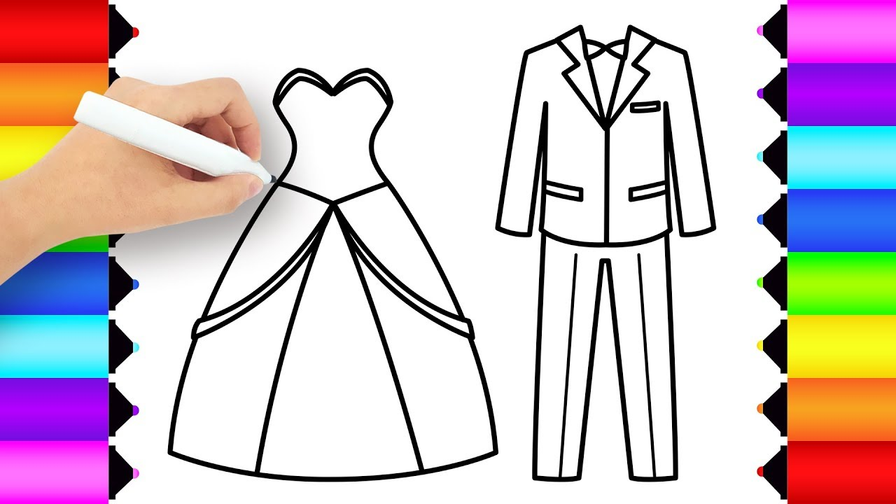 How to Draw a Bride and Groom Coloring Pages - Wedding Dresses ...
