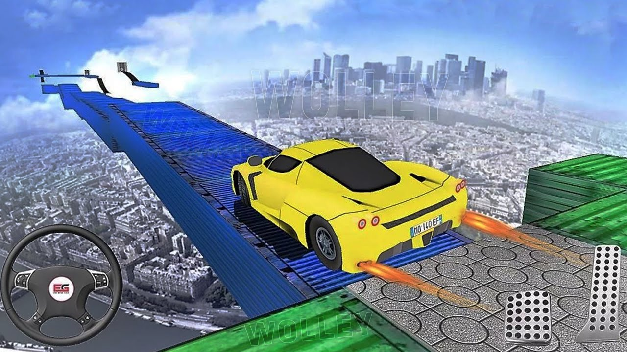 the impossible tracks car sim 3d android gameplay hd extreme stunt racing cars games for kids