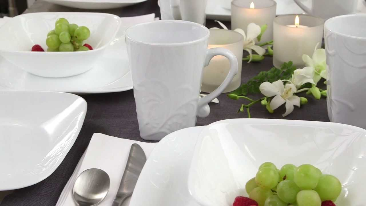 & Corelle - Cherish Pattern 16 Piece Dinnerware Set - YouTube