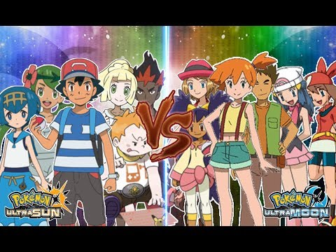 Pokemon Ultra Sun and Ultra Moon Ash, Lillie, Lana, Mallow, Kiawe, Sophocles Vs Ash