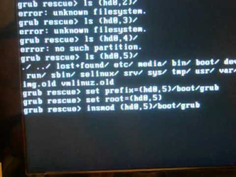Grub rescue no such partition set root