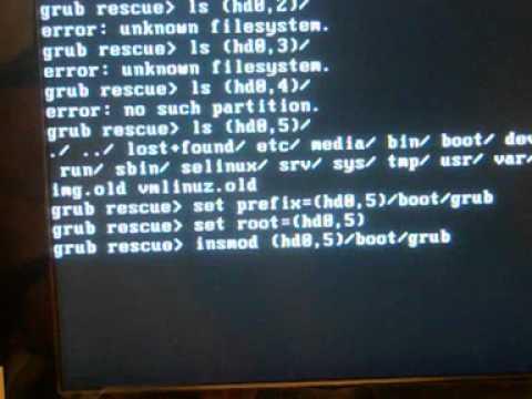 Linux: grub rescue shell. Ripristinare linux con la shell di grub, errore NO SUCH PARTITION