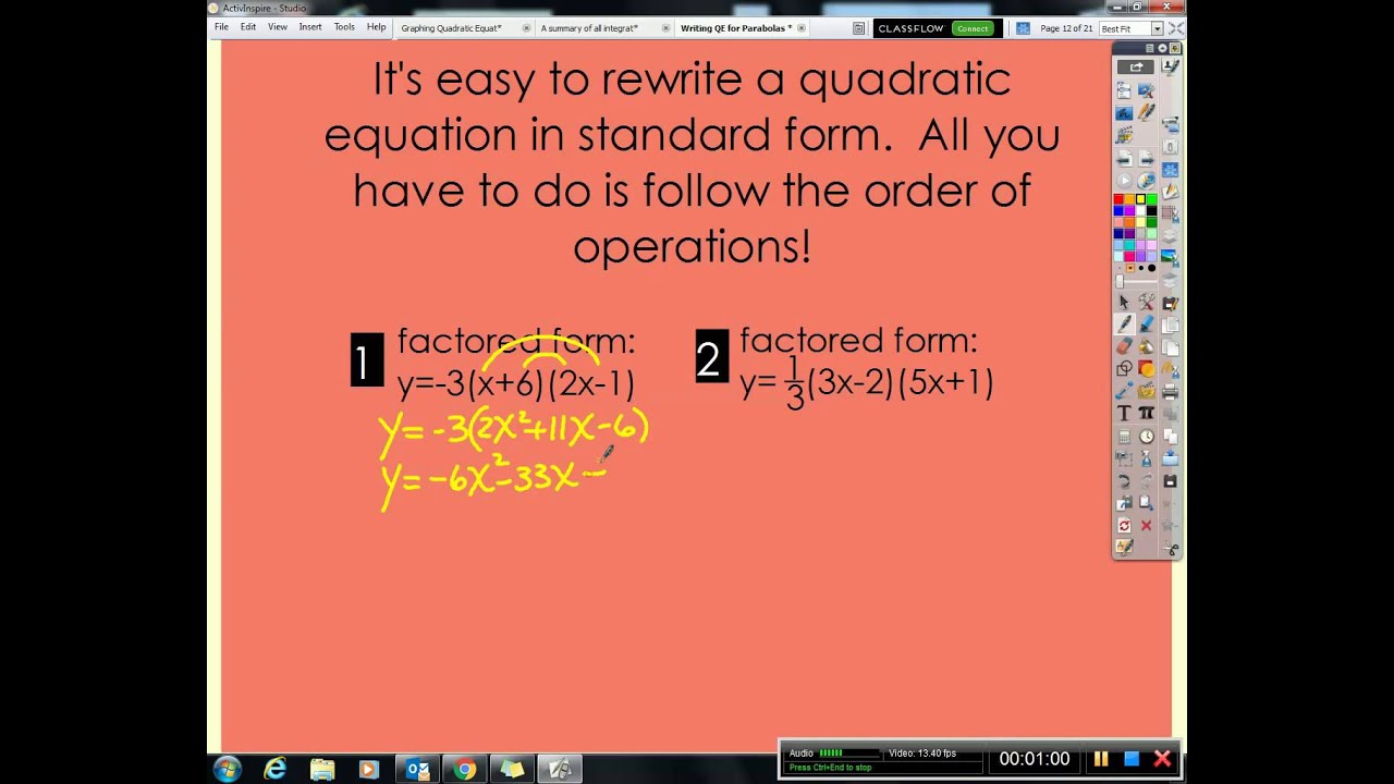 Algebra 2a change a quadratic equation from factored or vertex algebra 2a change a quadratic equation from factored or vertex form into standard form falaconquin